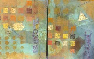 Pat Cresson +  Recent Work > Oil Painting and Mixed Media oil/wax on cradled wood panels; diptych