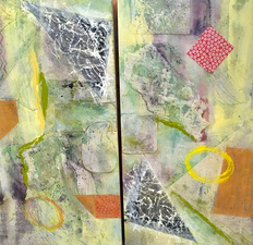PAT CRESSON +  Recent Work > Oil/Wax Painting on Wood Panels diptych, oil/wax on cradled wood panels; diptych