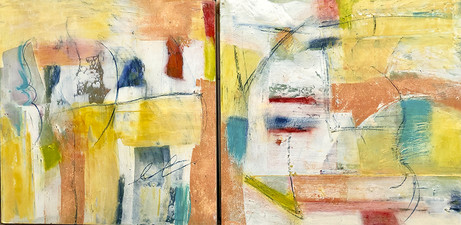 PAT CRESSON +  Recent Work > Oil/Wax Painting on Wood Panels diptych, oil/cold wax on wood panel