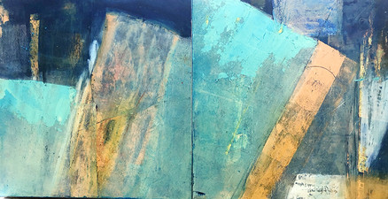Pat Cresson +  Recent Work > Oil/Wax Painting on Wood Panels diptych; oiled cold wax on wood panel