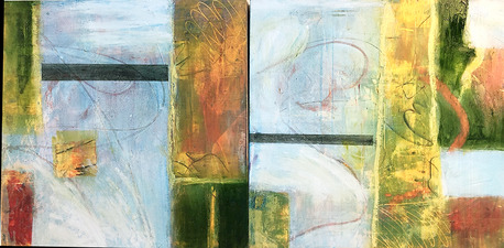 Pat Cresson +  Recent Work > Oil/Wax Painting on Wood Panels diptych, oil and cold wax on wood panel