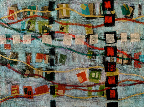 Contemporary/modern abstract art paintings by Patricia Forbes Large Paintings Acrylic and Paper on Panel