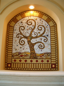 Patricia Rockwood Mosaics: Selected Corporate & Private Commissions Glass tile, mirror tile, glass gems, found objects, on wood