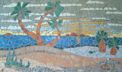 Patricia Rockwood Mosaics: Selected Corporate & Private Commissions Glass and ceramic tile, shells, pebbles, on cement board