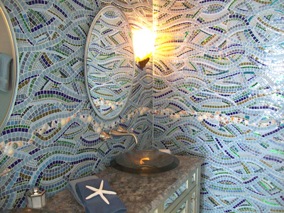 Patricia Rockwood Mosaics: Selected Corporate & Private Commissions Glass and ceramic tile, mirror tile, glass gems and shapes, shells, pearls, pebbles