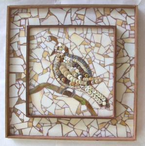 Patricia Rockwood Mosaics: Panels Stained glass, buttons, on wood