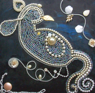 Patricia Rockwood Mosaics: Panels Pearls, beads, found objects, on wood