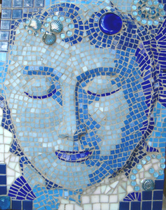 Patricia Rockwood Mosaics: Panels Glass and ceramic tile, glass gems, glass shapes, on wood