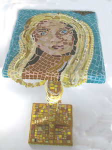 Patricia Rockwood Mosaics: Objects glass and ceramic tile, beads, glass gems, millefiori, found objects, on wood