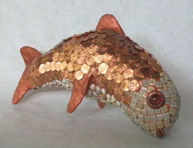 Patricia Rockwood Mosaics: Objects Glass tile, pennies, shells, founs objects, on sculpted form
