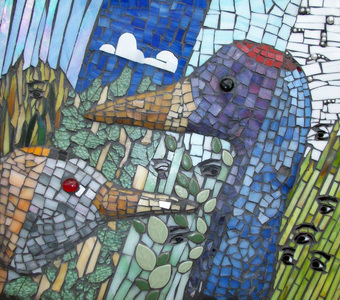 Patricia Rockwood Mosaics: Panels Stained glass, ceramic, glass gems, pearls on board