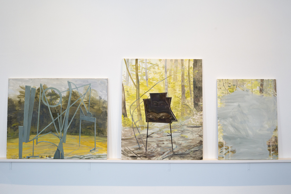 Your Rivers, Your Margins, Your Diminutive Villages 2014 From L to R: Untitled Painting, The Weft of Things Unseen, Untitled Painting
