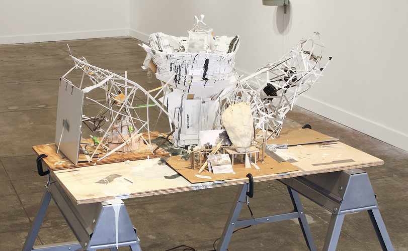 2013 How to Stay Alive in the Woods, Platform Gallery Worktable (A Plea for Better Leaders in the Form of Automatic Sculpture)