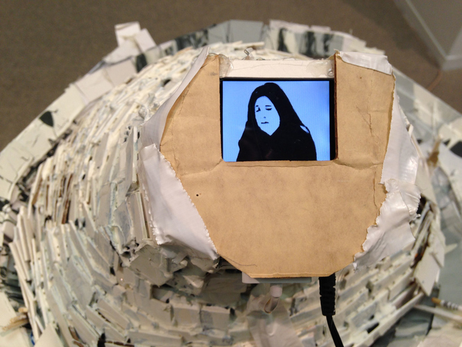 Patte Loper Sculpture and Installation Animated video, MP3 player, foam core, cardboard, paint