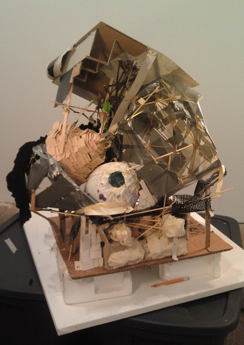 Patte Loper Sculpture and Installation Duct tape, cardboard, sticks, found objects