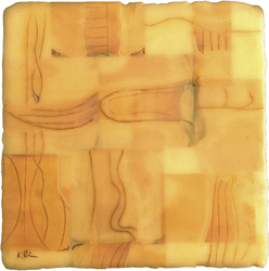 Paul Kline  Archive Encaustic, polaroid film on wood panel