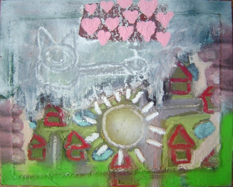 Peter e Harper Modern Folk Mixed Media On Canvas