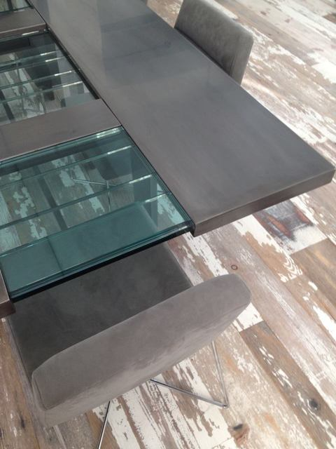 Design & Fabrication Patinated stainless steel, tempered glass