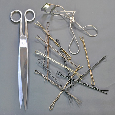 Sculpture Bobby pins, scissors, eyelash curler