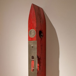 Sculpture Cedar, glass, stainless steel. p[gment, wax