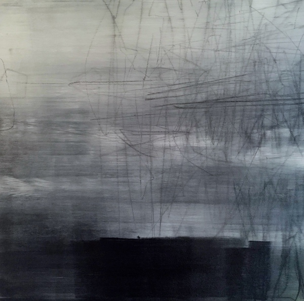 Peter Roux abstraction oil, charcoal on canvas