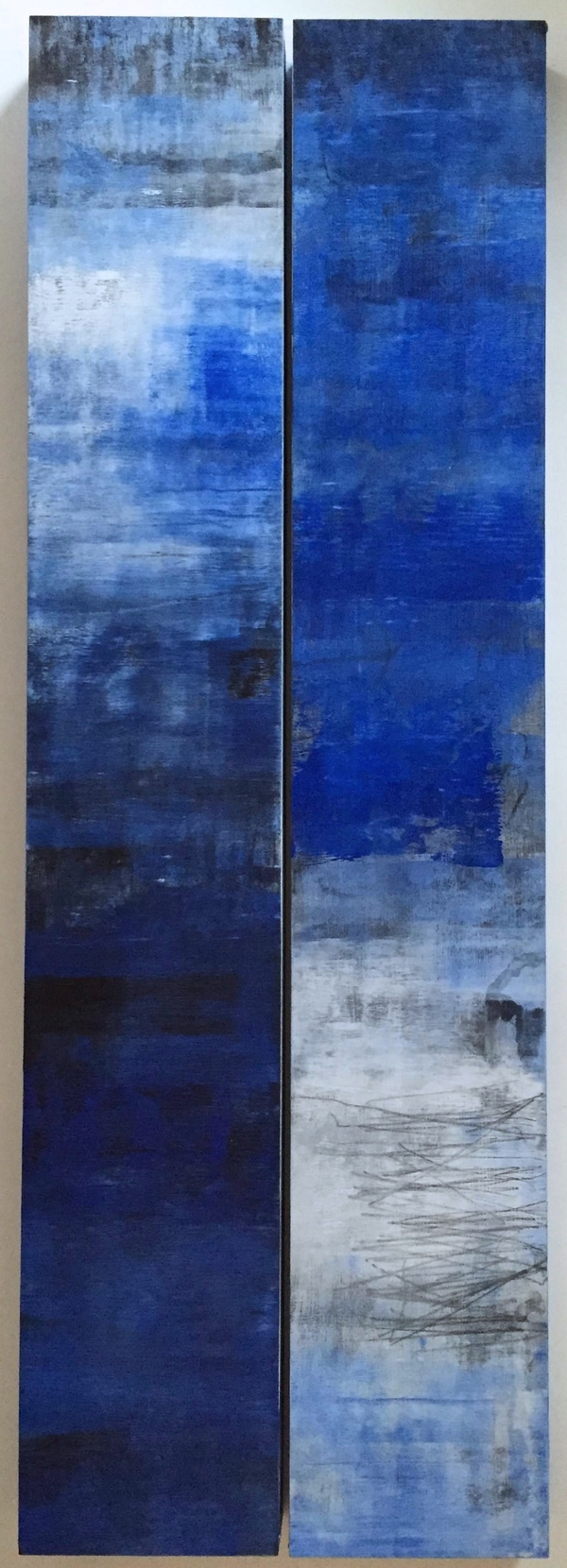 PETER ROUX misc abstraction oil, charcoal on two panels