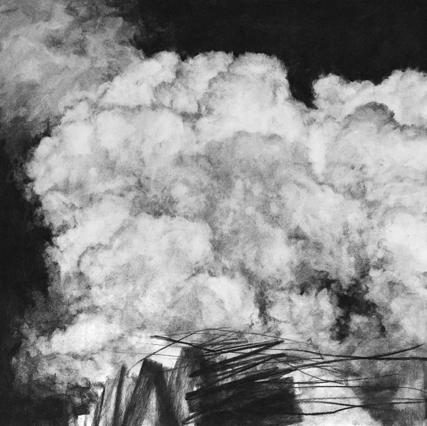 Peter Roux The Suspension Series charcoal on paper