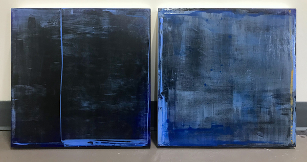 Peter Roux misc abstraction oil on panel (diptych)