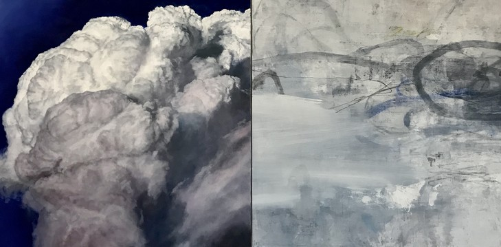 Peter Roux The Suspension Series oil, charcoal, pastel on canvas (diptych)