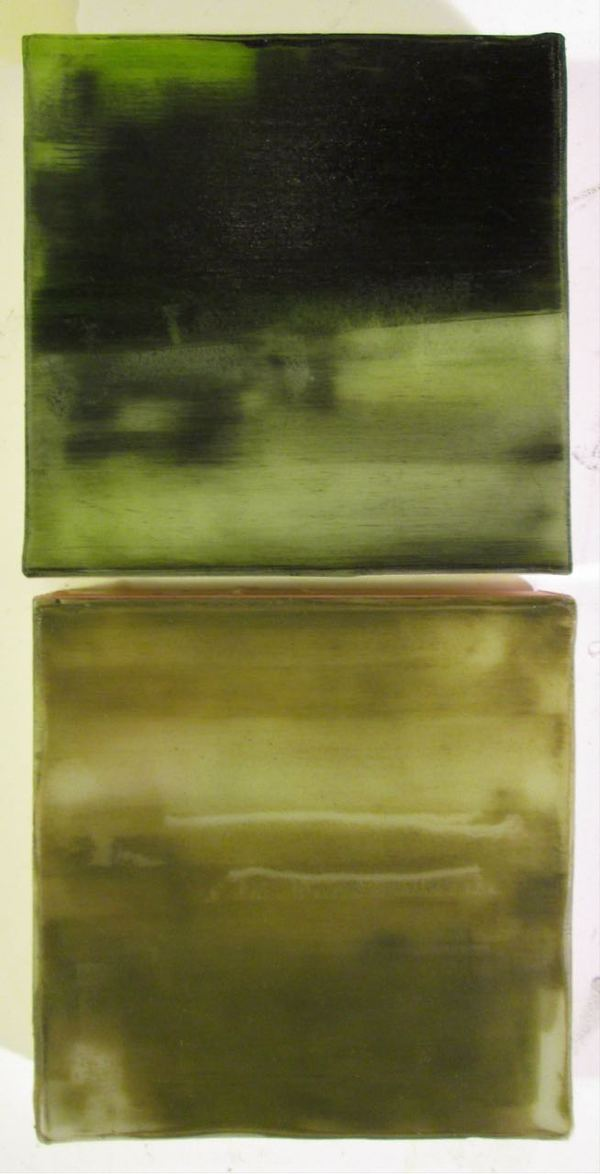 Peter Roux abstraction oil, encaustic on two panels