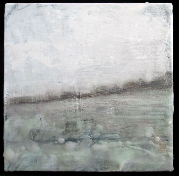 Peter Roux misc landscape oil, encaustic on canvas
