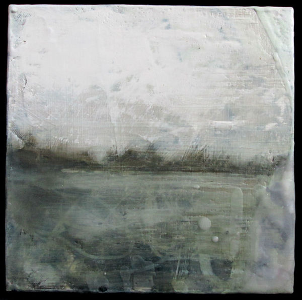 Peter Roux landscape oil, encaustic on canvas