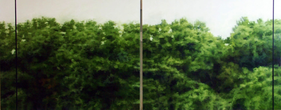 Peter Roux landscape oil on two panels (diptych)