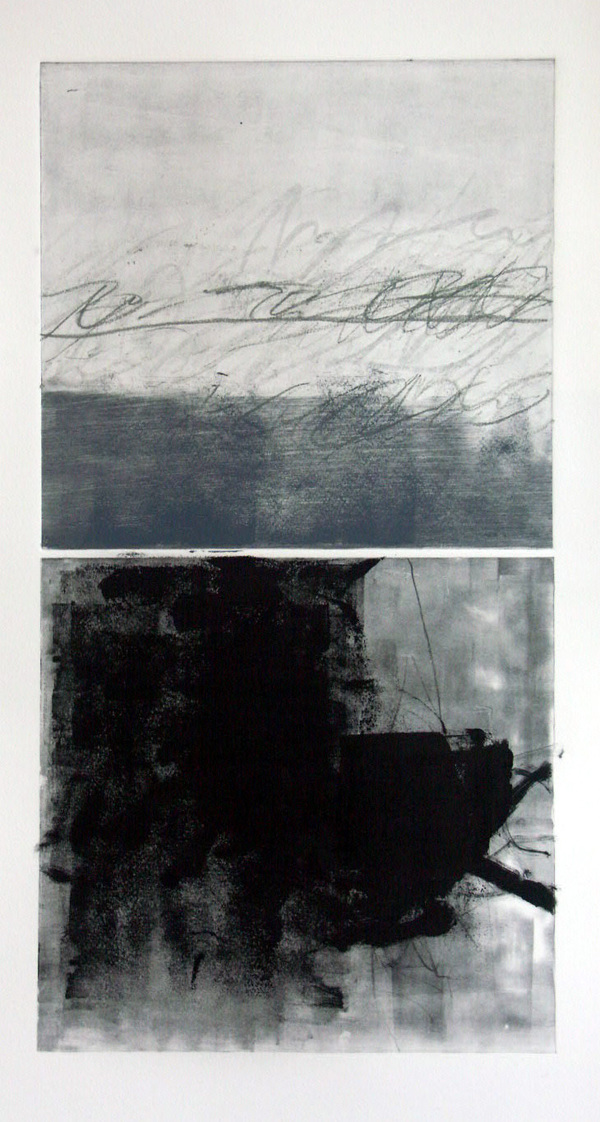 Peter Roux abstraction monotype on paper
