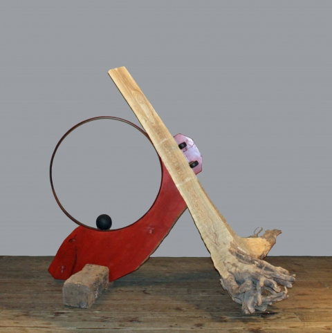 Assembled Sculptures Wood, Metal Barrel Hoop & Sphere