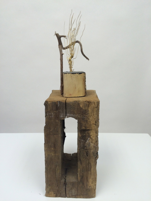 Small Sculptures Twisted twig, old barn mortise & broom bristel