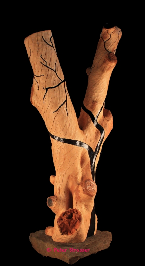 Large Wooden Sculptures Y Tree w/Black Shadows