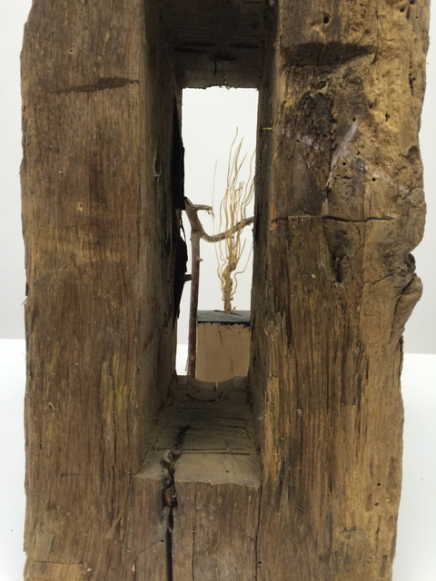 Peter Strasser Small Sculptures Twisted twig, old barn mortise & broom bristel