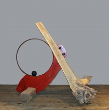 Peter Strasser Assembled Sculptures Wood, Metal Barrel Hoop & Sphere