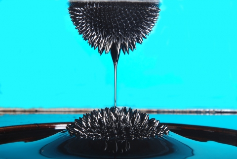 Petra Groen Sculpture/ installations ferrofluid, magnetic field, object made of stainless steel and hydraulic pump.