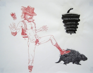 Phil Whitman Drawings and Paintings ink and acrylic xerox transfer on paper
