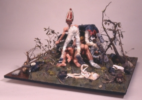 Phil Whitman Dioramas and Figures polymer clay figures and diorama materials on wood