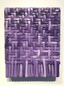 Pilar Agüero-Esparza Painting/Weaving Leather, acrylic, wood