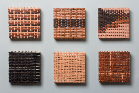 Pilar Agüero-Esparza Color Perception Leather, acrylic, wood panel, nails