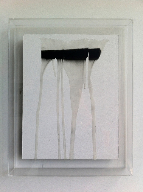 Lucas Michael Xenoglossy Resin, charcoal and paint on drywall, plexiglass