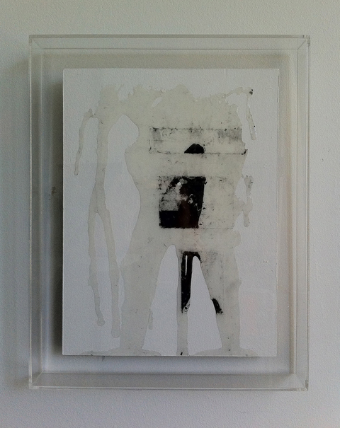 Lucas Michael Xenoglossy Resin, graphite, charcoal and paint on drywall, plexiglass