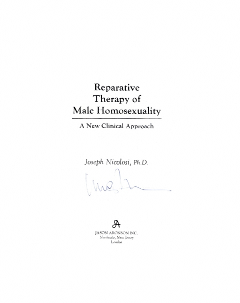D Reparative Therapy of Male Homosexuality, 1991
