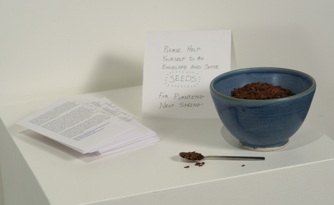 Rachel Breen Common Milkweed, (Asclepias syriaca L.) Seeds, bowl, envelopes and spooon