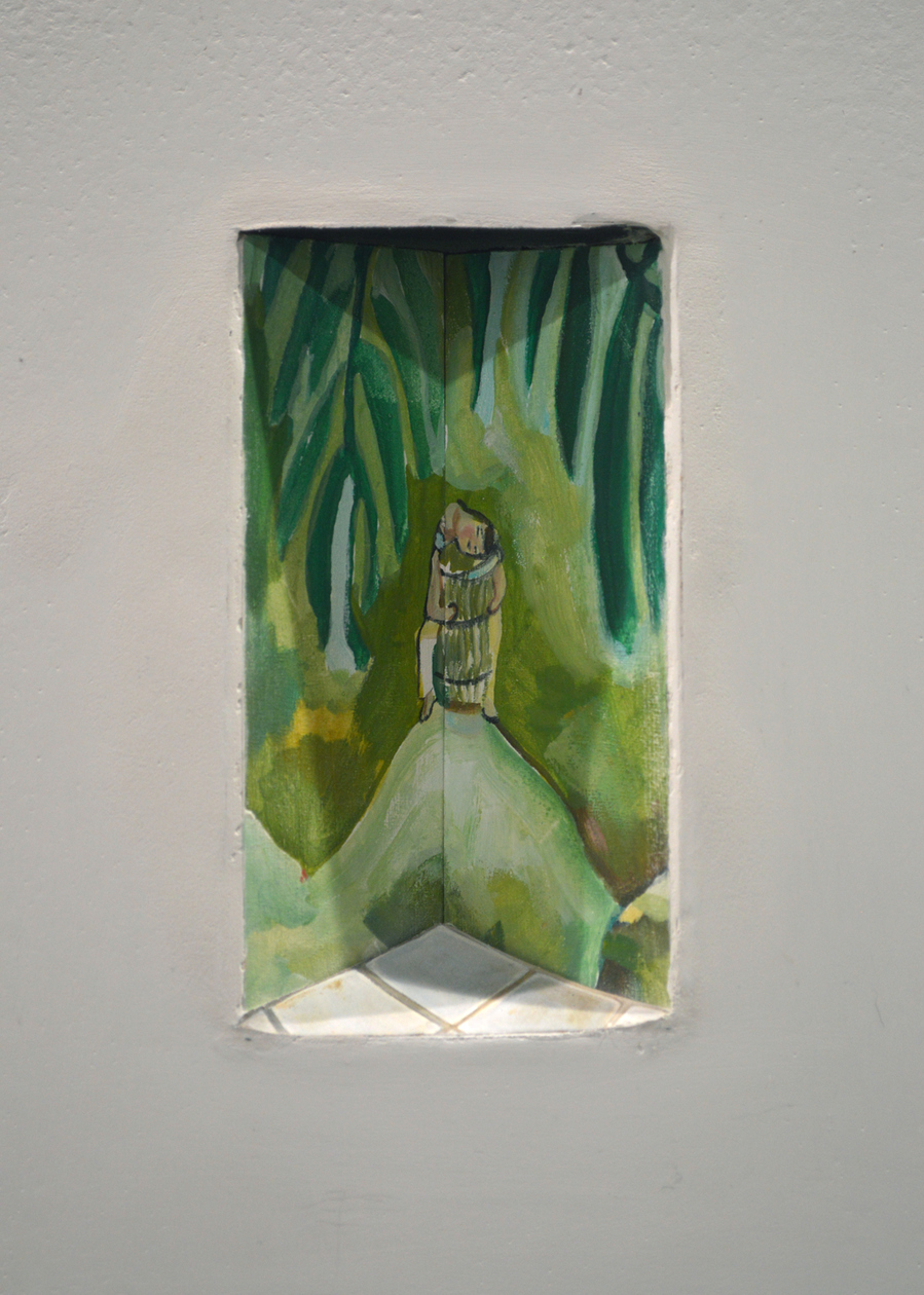 RACHEL GROBSTEIN Miniature Sculpture gouache on cut paper [in a hole in the wall]