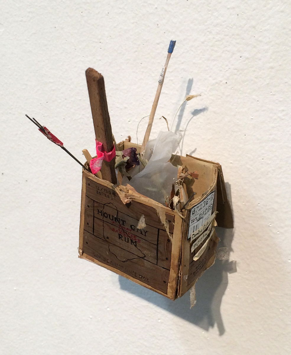 RACHEL GROBSTEIN Miniature Sculpture gouache on cut paper, piano wire, plastic, mixed media